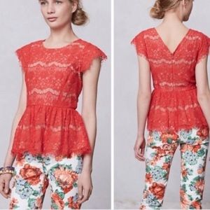 Anthropologie Maeve Katrine peplum top blouse